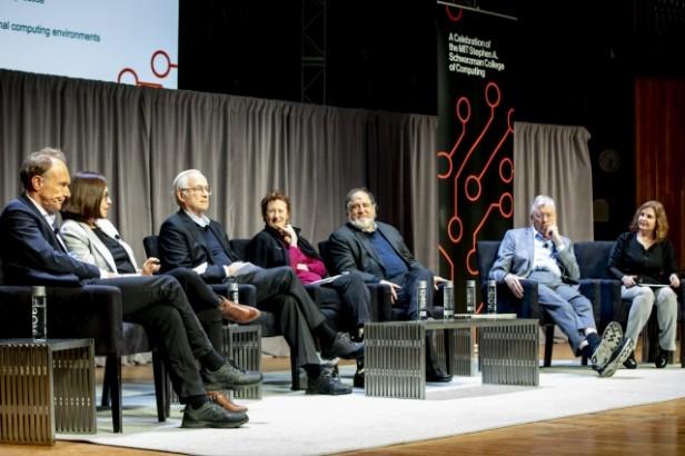 A photo showing Tim Berners-Lee, Shafi Goldwasser, Butler Lampson, Barbara Liskov, Ron Rivest, Michael Stonebraker, and moderator Daniela Rus at the Turing panel
