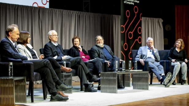 A photo showing Tim Berners-Lee, Shafi Goldwasser, Butler Lampson, Barbara Liskov, Ron Rivest, Michael Stonebraker, and moderator Daniela Rus at the Turing panel
