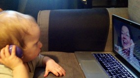 An image of a child on a video call