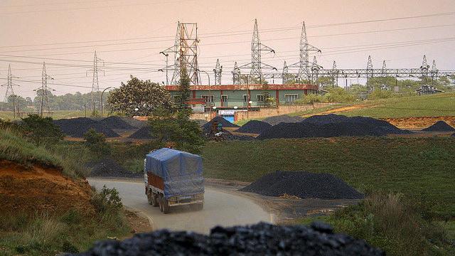 Coal mounds in Meghalaya, a small state in northeastern India.
