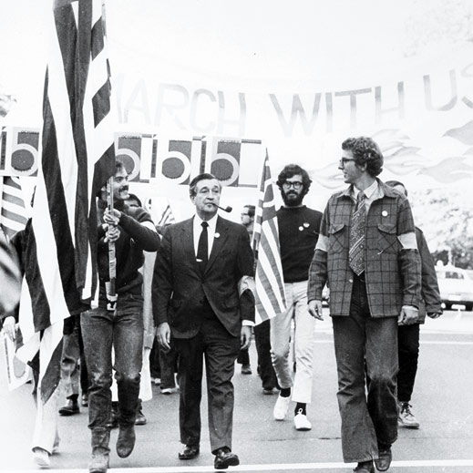 MIT provost Jerome B. Wiesner, HM '71 (with pipe), marches with ­students on March 4, 1969