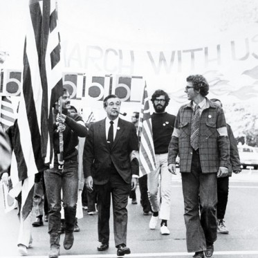 MIT provost Jerome B. Wiesner, HM '71 (with pipe), marches with students on March 4, 1969