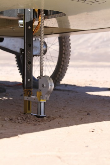 Close up on Mars rover drilling