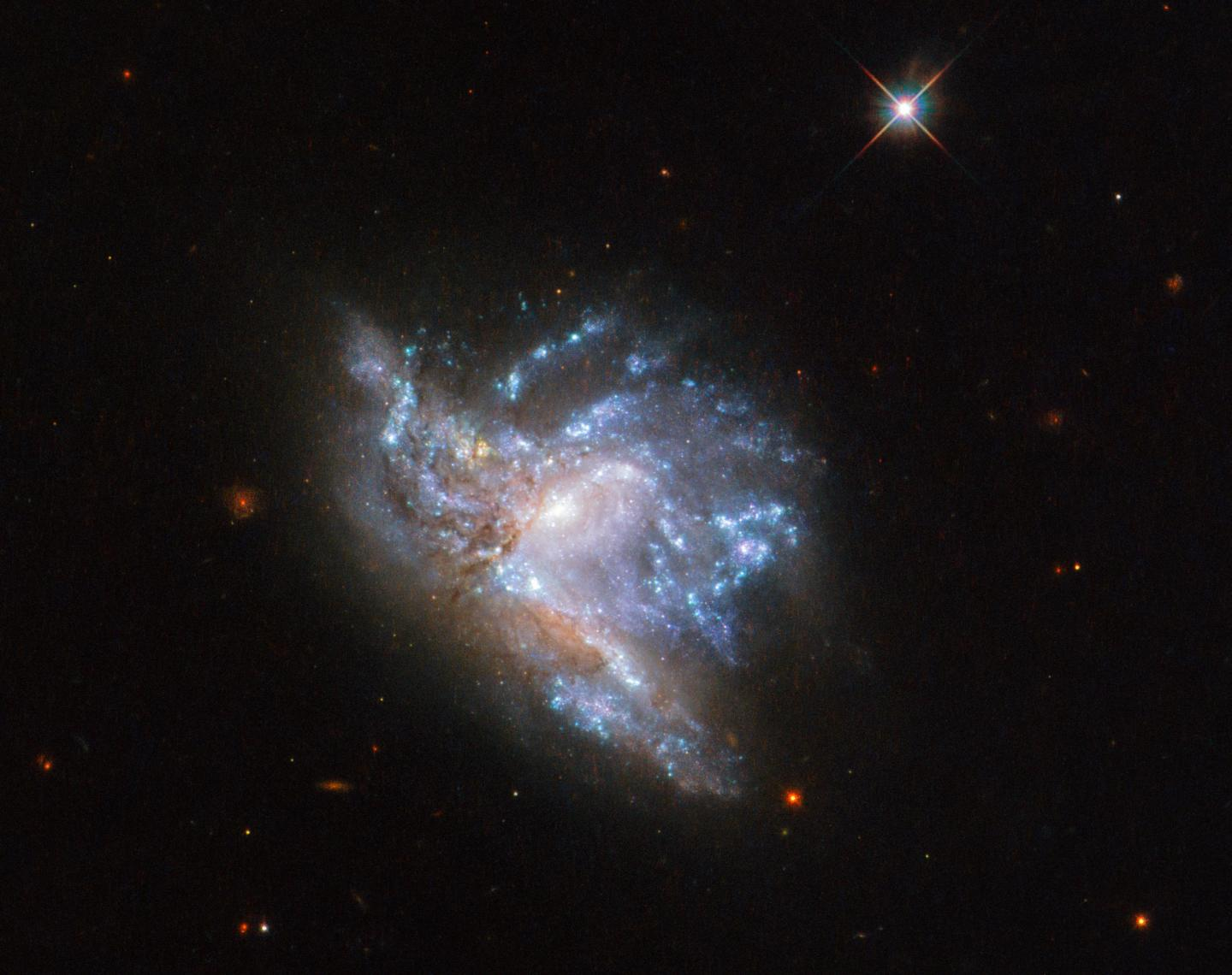 The collision of two distant galaxies was caught in this new Hubble image