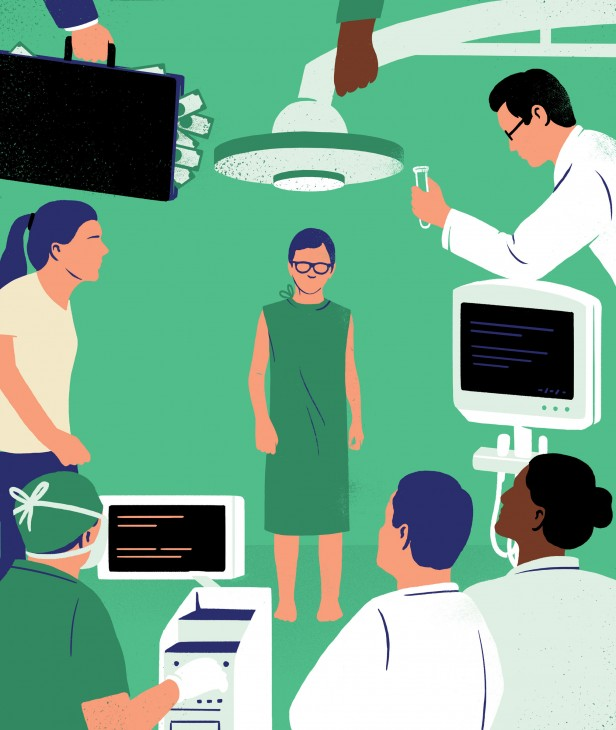 Illustration of patient surrounded by doctors, researchers, and medical equipment