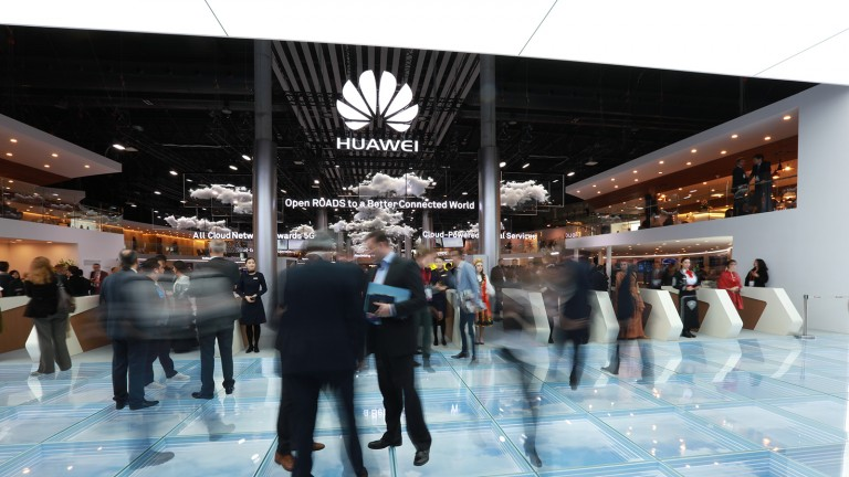 Huawei's stand at the 2017 Mobile World Congress in Barcelona.
