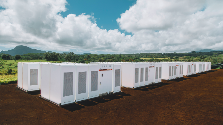 A bank of tesla batteries in Hawaii