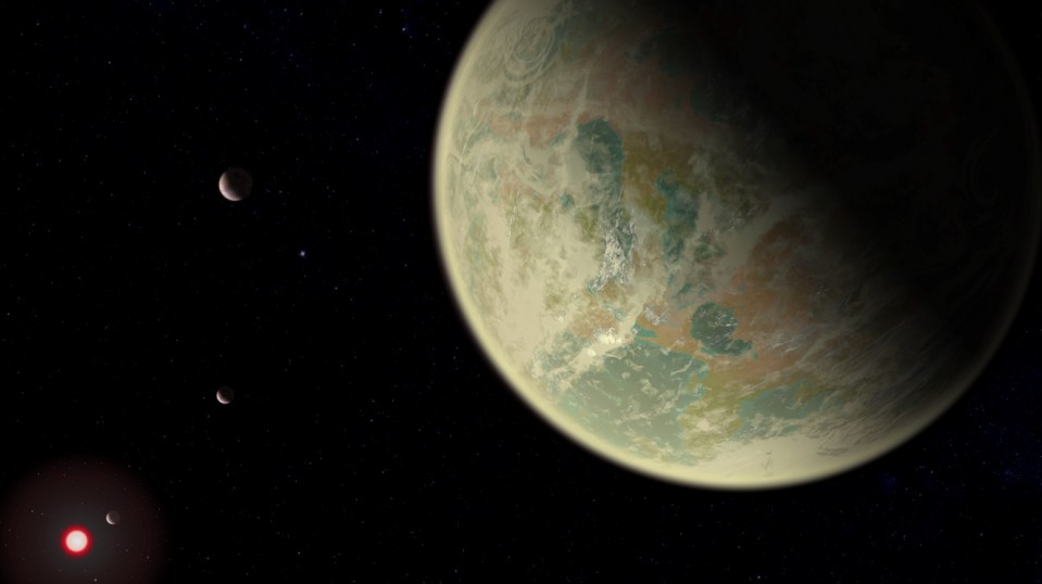 Water-bearing exoplanet with oxygen.