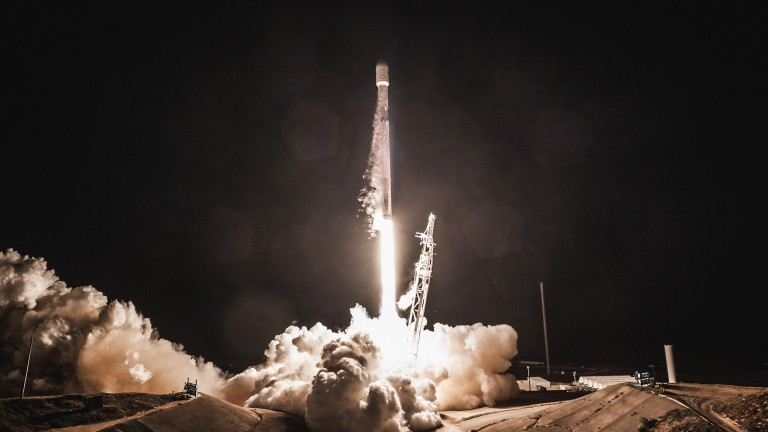 Photo of PAZ satellite rocket launch from Space Launch Complex 4E (SLC-4E) at Vandenberg Air Force Base in California. The mission, launched on a flight-proven Falcon 9, also carried SpaceX's first two Starlink demonstration satellites to orbit.