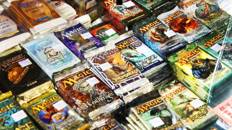 An image of packages of Magic: The Gathering playing cards