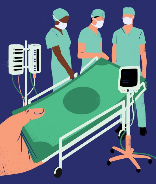 Illustration of hand holding cash, forming the image of a hospital bed
