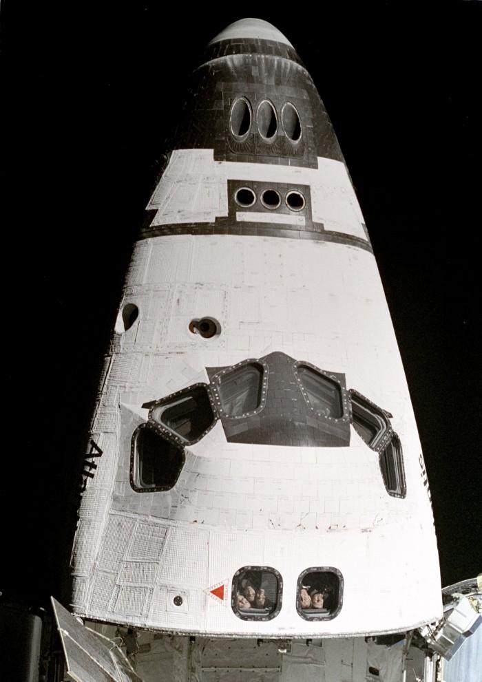 Photo of astronauts in spaceship
