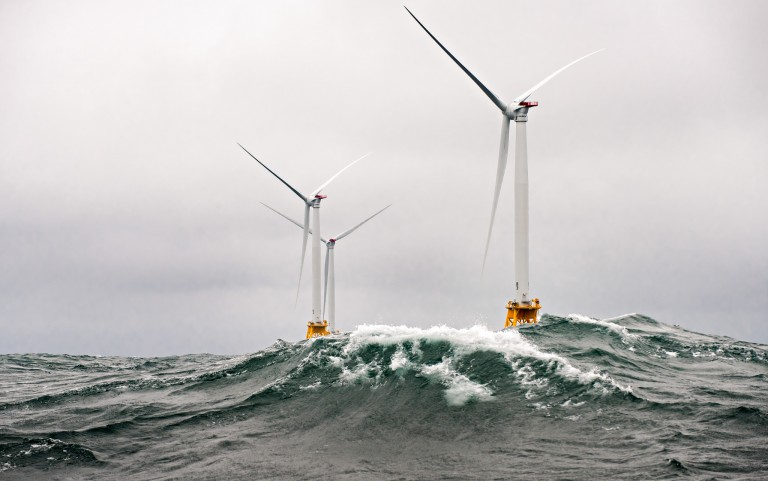 Block Island wind farm turbines in heavy seas