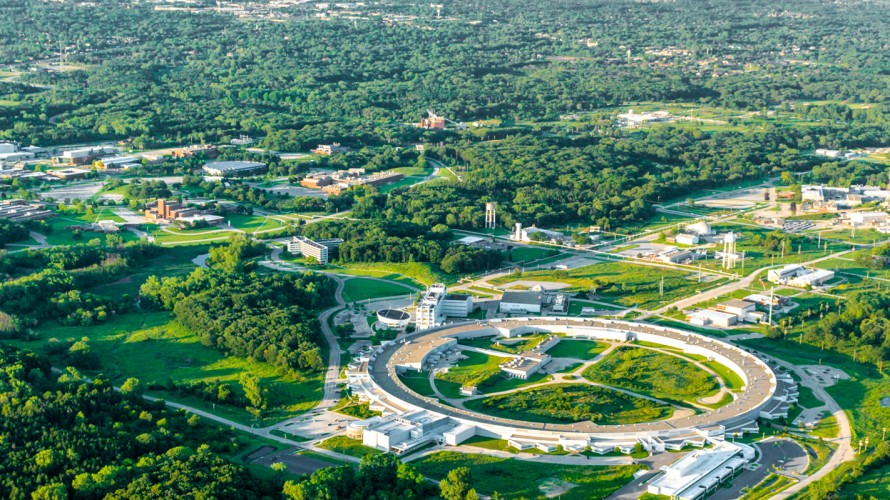 An aerial view of the Argonne National Lab campus.