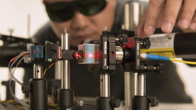Inside an optics lab