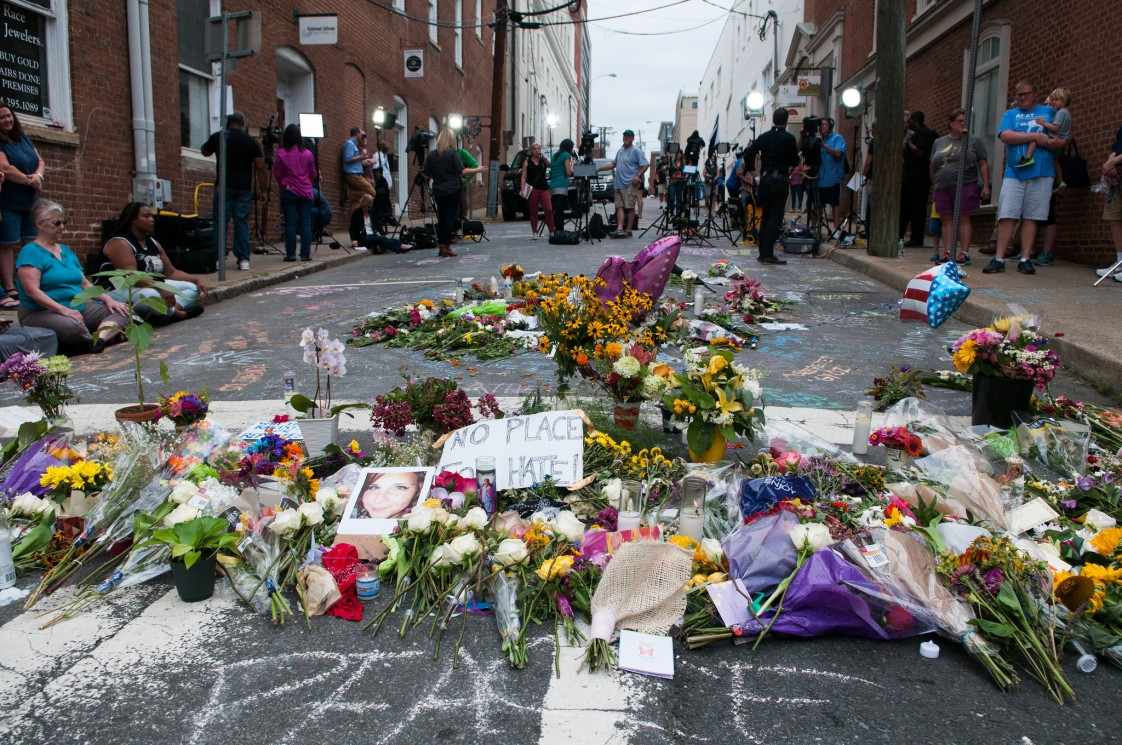 A memorial for Heather Heyer, who was killed in Charlottesville, Virginia last weekend