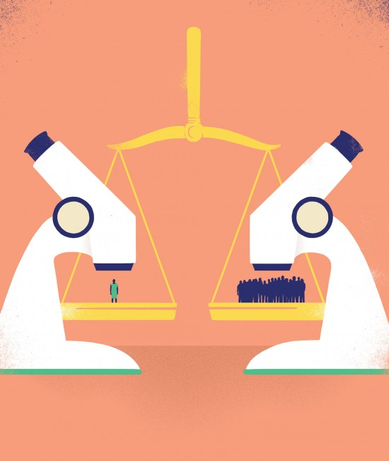 Illustration of two microscopes situated over scales of justice. One side focuses on a group of people, the other is focused on a single person.