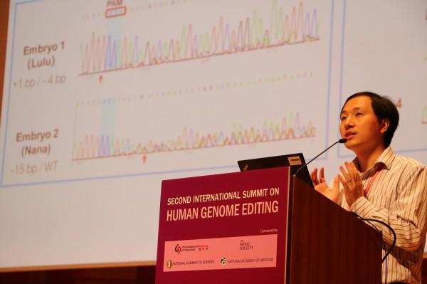 Photo of He Jiankui during National Academies presentation