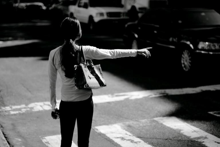 Women hailing a cab