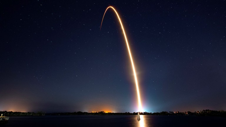 Timelapse image of SpaceX Falcon 9 launch from Cape Canaveral