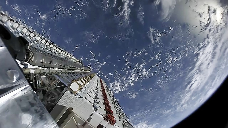 SpaceX deploying its Starlink satellite fleet.