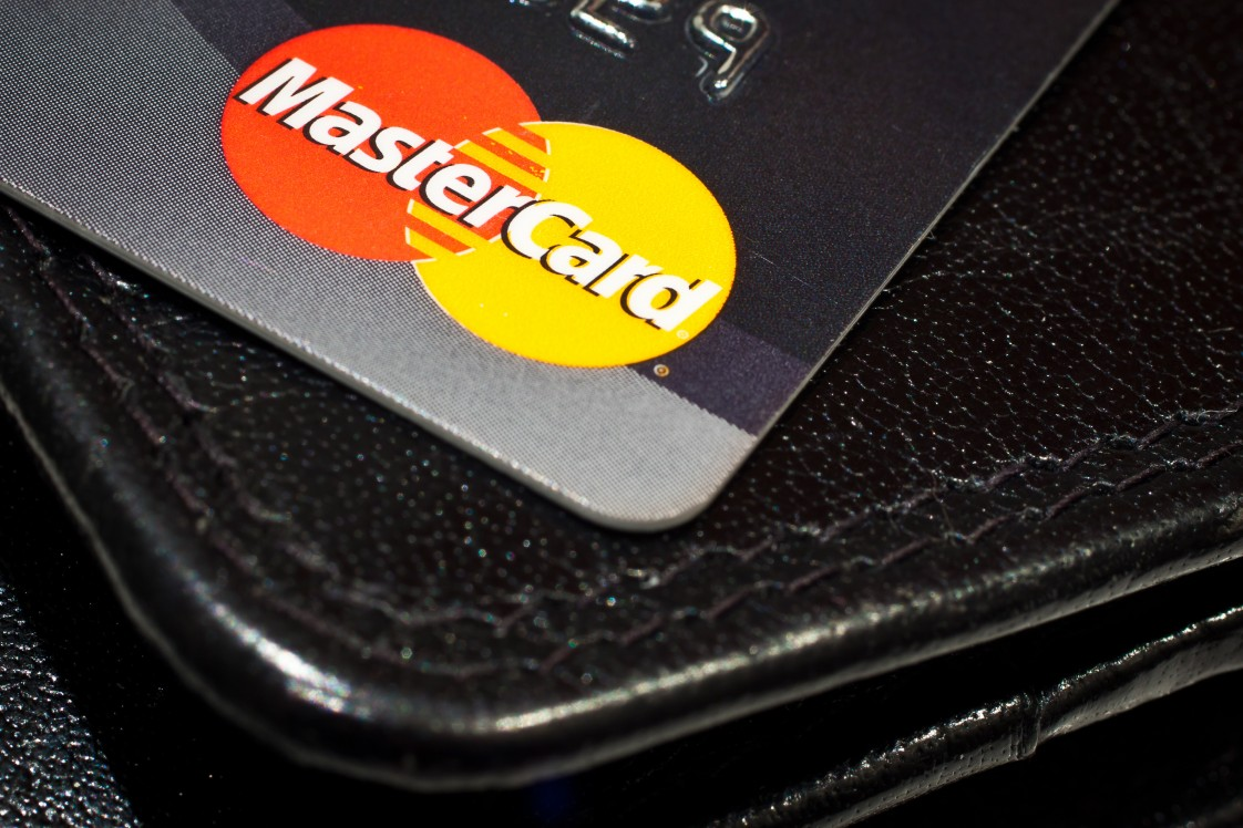 An up-close shot of a Mastercard credit card
