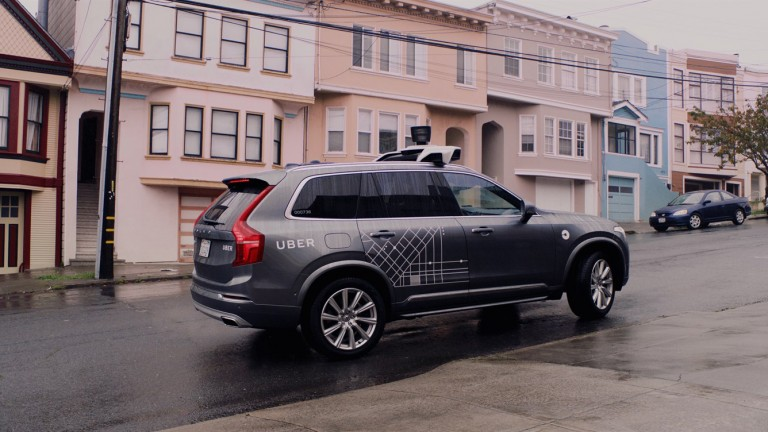 An Uber self-driving car