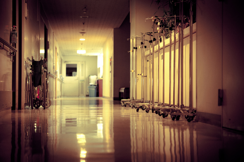 Photo of a hospital hallway.