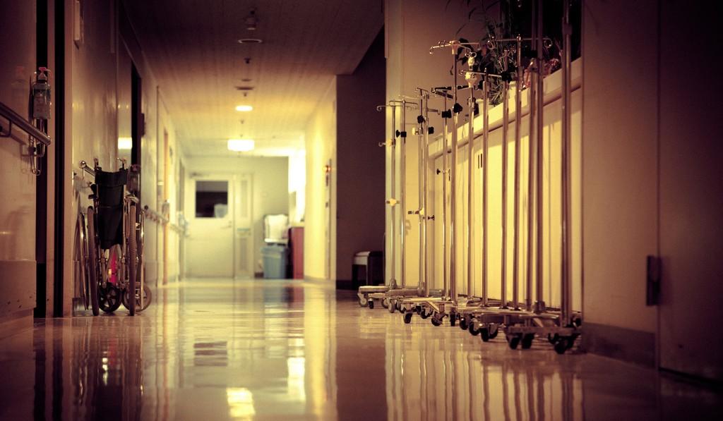 Photo of a hospital hallway.