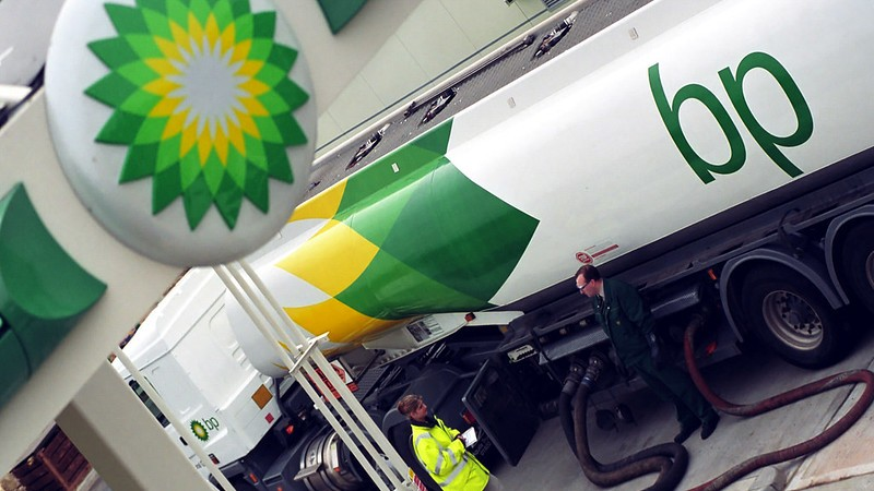 A BP road tanker refueling.