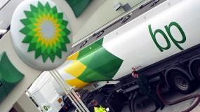 A BP road tanker refueling.