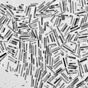 an electron micrograph of gold nanorods