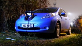 A Nissan Leaf, charging
