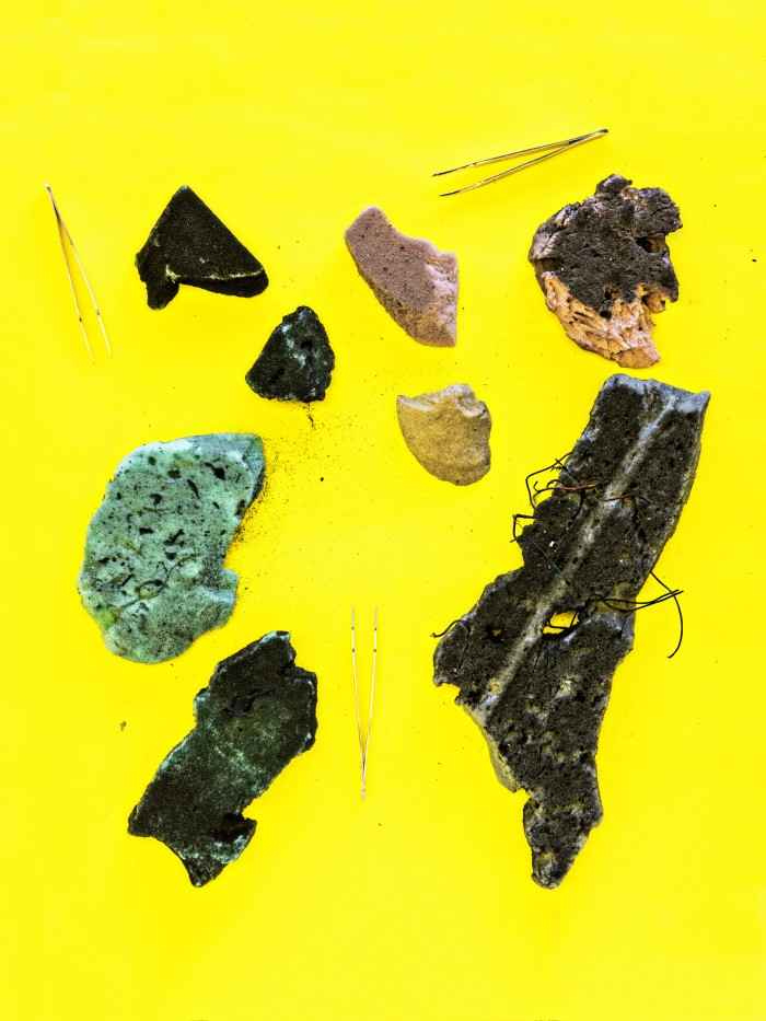 Photograph of various debris with tools