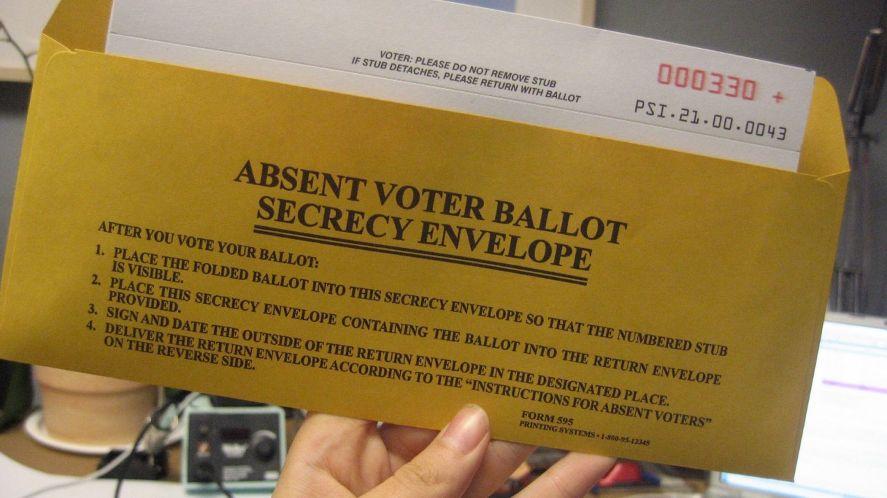 An absentee voter ballot secrecy envelope