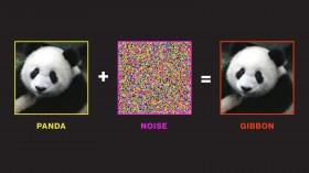 A diagram showing an image of a panda, plus an image of some noise, equalling an image of a panda misidentified as a gibbon.