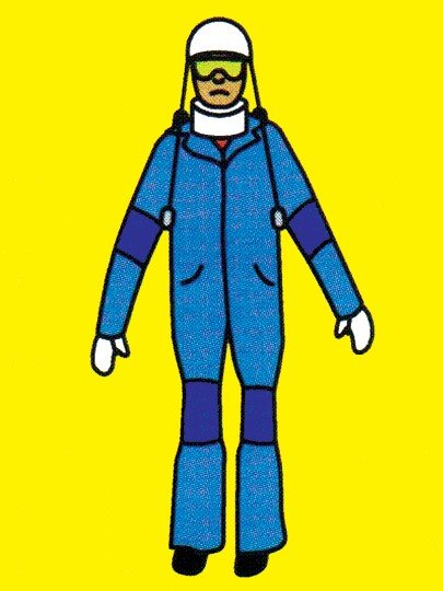 Illustration of person in an age suit