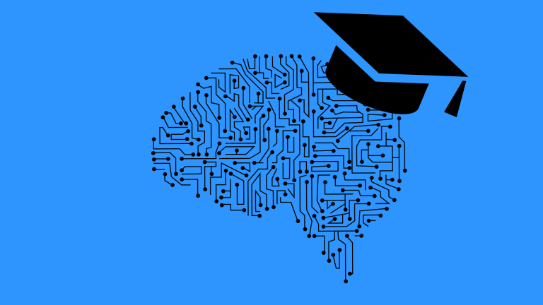 Drawing of a circuit board in the shape of a brain with a graduate hat on top
