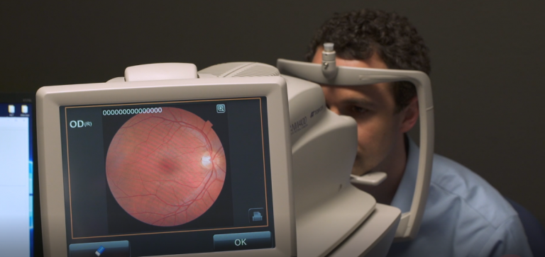A patient's eye is imaged with the IDx device