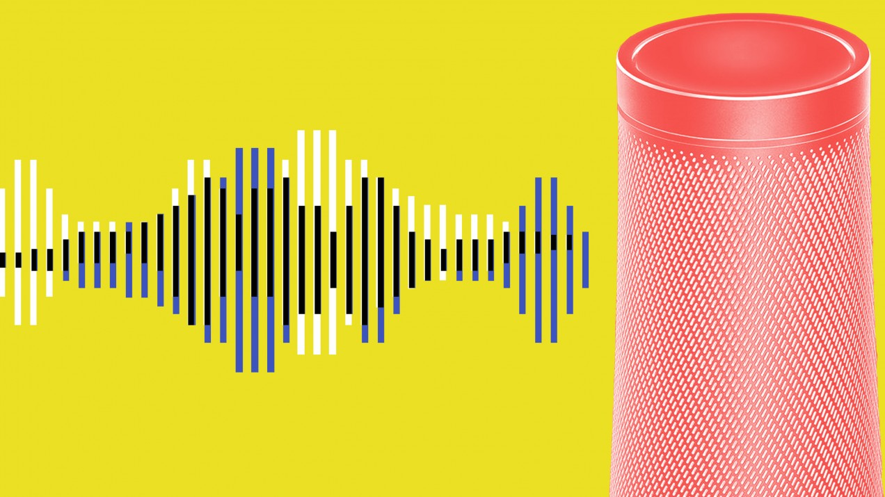 An image of a voice assistant device next to sound waves