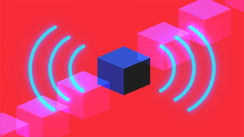 Conceptual illustration of blockchain and airwaves