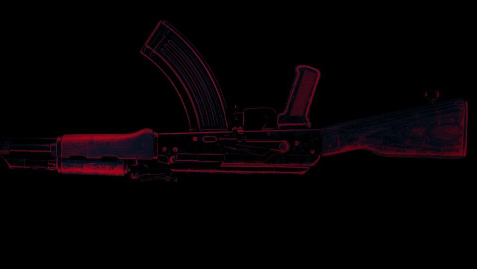 an upsidedown AK47