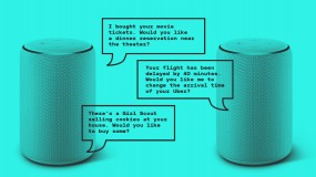 Illustration of two Alexa devices chatting with each other