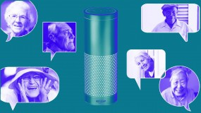 Photo illustration showing people in speach bubbles around a smart speaker