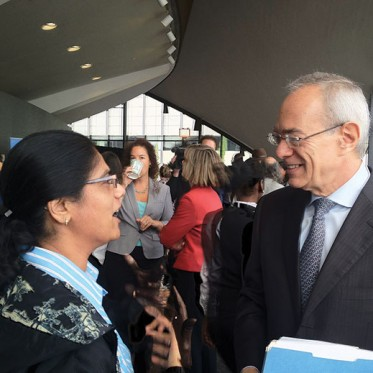 Sonal Patel and MIT President Reif