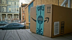 An Amazon package on a porch
