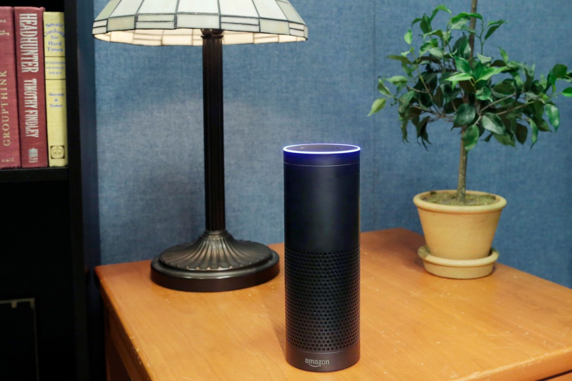 An Amazon echo on a table