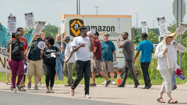 Amazon workers at one of its warehouses go on strike