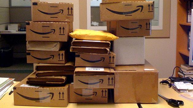 amazon boxes piled up