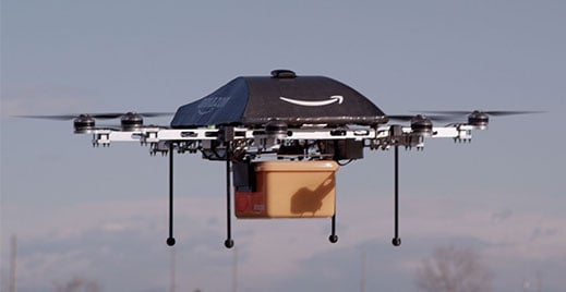 Amazon Prime drone in the air
